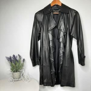 Ralph Lauren BLACK LABEL Ruffle Leather Coat 4